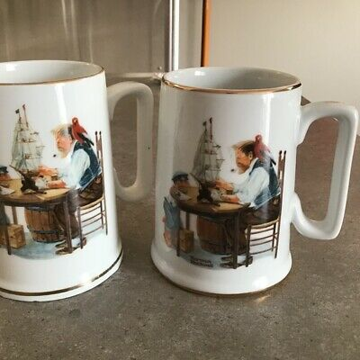 $ CDN65 • Buy Norman Rockwell Museum  For A Good Boy  Tea & Coffee Mug 1985 - 86 Lot Of 2