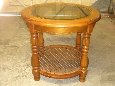£35 • Buy GARAGE FIND ;- ROUND WOODEN GLASS TOP COFFEE TABLE With RATTAN CANE SHELF.