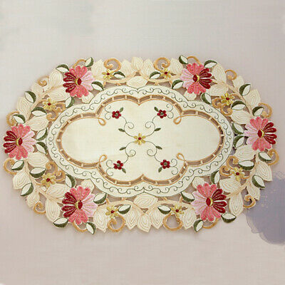 Set Of 4 Vintage Embroidered Lace Table Placemat Dining Place Mats Pads Doilies • 10.11£