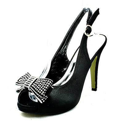 £17 • Buy Satin High Heel Sling Back Shoes With Large Diamante Bow