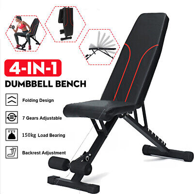 £45.89 • Buy Foldable Dumbbell Bench Weight Training Fitness Flat Incline Sit Up Workout Gym