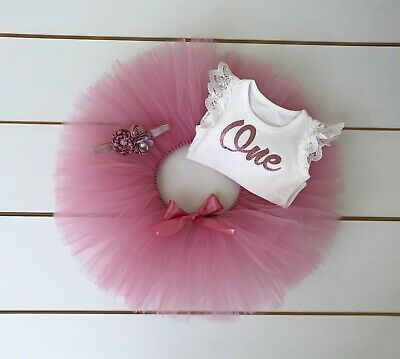 AU45 • Buy 3 Piece Dusty Pink First Birthday Outfit - Cake Smash Outfit - Baby Girl