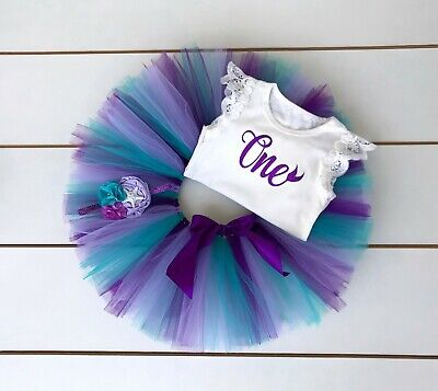 AU45 • Buy Mermaid Cake Smash Outfit - 3 Piece First Birthday Set - Purple, Teal & Lavender