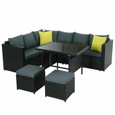 AU809.88 • Buy Outdoor Furniture Patio Set Dining Sofa Table Chair Lounge Wicker Garden Black