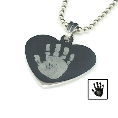 Personalised Photo Engraved Hand Print Heart Pendant - Stainless Steel Necklace • 18.49£