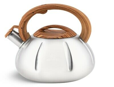 Whistling Kettle 3.5 L Stove Top Induction Gas Ceramic Electric Brown Silver • 19.50£
