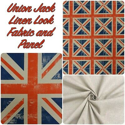 Popart Union Jack Flag Linen-Look Cotton-Rich Curtain Craft Fabric & Panel • 10.95£
