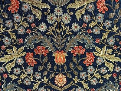 Barrington Morris Tapestry Navy Red Cotton 140cm Wide Curtain/Upholstery Fabric • 18.99£
