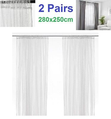 2 Pair IKEA LILL Sheer Net Curtains White Long Curtains 100% Polyester 280x250cm • 14.49£