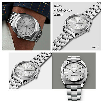 Milano XL 38mm Stainless Steel Bracelet Watch TW2U15600 TIMEX  - 70s Style BNIB • 135£