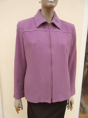 Viyella - Womens Pale Lilac Zip Up Wool / Cashmere Blend Jacket - Size 12 • 11.95£