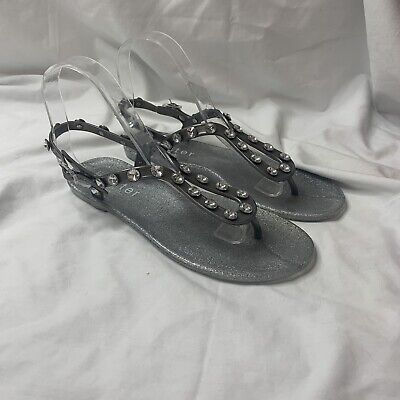 Holster Jelly Sandals Size 7 38 Grey Silver Jewel Strappy Flats • 13.61£