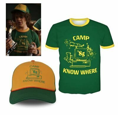 AU19.99 • Buy Adult Kids Stranger Things 3 Costume Dustin Camp Know Where T Shirt Hat Set