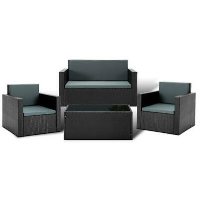 AU630.95 • Buy Gardeon 4 Piece Outdoor Wicker Furniture Set - Black