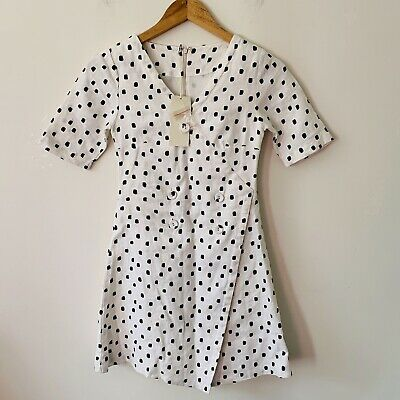 AU58 • Buy Zulu And Zephyr 100% Linen Spot Polka Dot Mini Dress Size 6 BNWT
