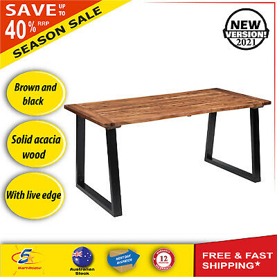 AU377.71 • Buy Wooden Dining Table Kitchen Furniture Timber Metal Industrial Style