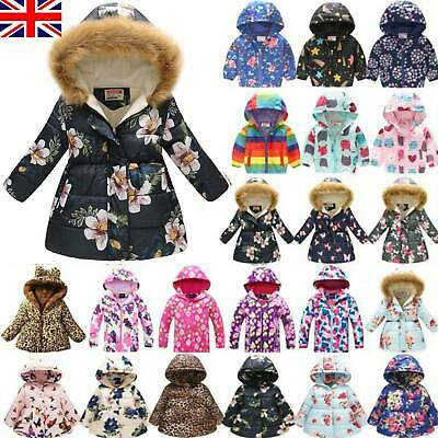 UK Kids Girls Winter Warm Coat Hooded Jacket Padded Print Down Overcoat Outdoor • 19.99£