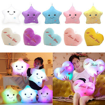 Stars Light Up Cushion Romantic Gift Sofa Bed Bedroom Plush Night Glow Kid Toys • 7.40£