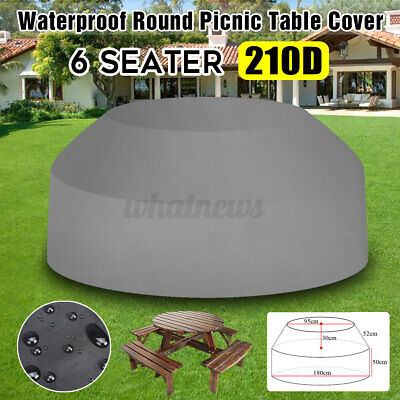 Gray Waterproof Outdoor 8 Seater Round Garden Picnic Table Chair Cover Protector • 19.99£
