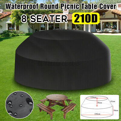 Black Waterproof Outdoor 8 Seater Round Picnic Table Cover • 19.95£