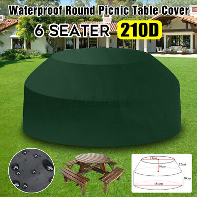 Green Waterproof Outdoor 8 Seater Round Garden Picnic Table Chair Cover Protect • 18.99£