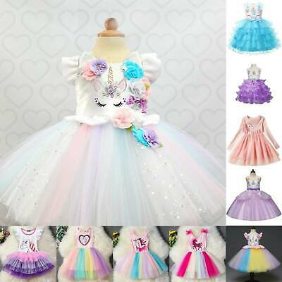Kids Girls Unicorn Evening Party Princess Tutu Dress Fancy Dress Costume Outfit • 12.79£