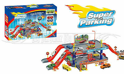 Kids Super Parking Toy Garage Petrol Station Play Set + 3 Cars & 1 Bus NEW  XMAS • 14.99£