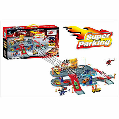 Super Parking Toy Garage Petrol Station Play Set + 3 Cars & 1 Helicopter NEW  • 14.99£