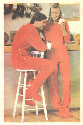 $25 • Buy Vtg Butterick 3506 Unisex Adult Onesey Drop Seat Footie Pajamas Pattern S-L