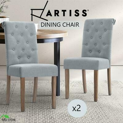 AU195 • Buy Artiss 2x Dining Chairs French Provincial Fabric High Roll Back Wood Light Grey
