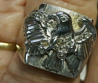 AU850 • Buy Very Large Eagle Ring Solid White Gold 9k Stamped 375  Size U/us 10.25