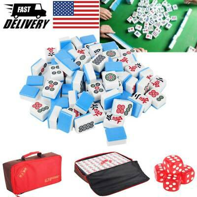 $37.48 • Buy Chinese Mah-Jong Set 144 Tiles Blue Game Set With Carry Bag Gift Family Portable
