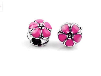 Cerise Pink Cherry Blossom Flower Clip Stopper Charm Bead For Bracelet Necklace • 3.75£
