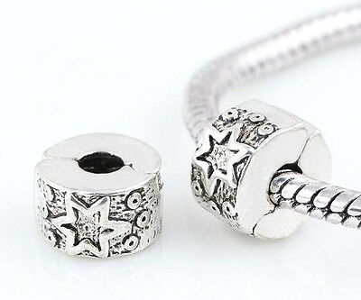Silver Star Clip Stopper Charm Beads For Bracelet Or Necklace • 3.50£
