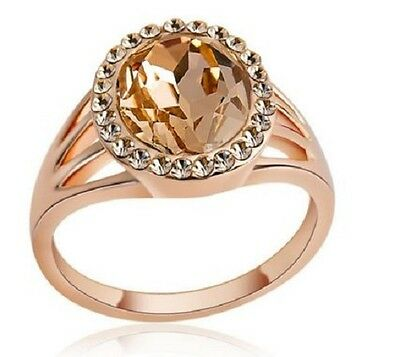 £4.50 • Buy 18k Rose Gold Plated Cz Champagne Crystal Oval Cut Ring. Size: L