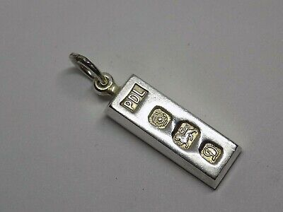 Small Size Vintage English Sterling Silver Ingot Pendant. Full Hallmark. 7 Grams • 19.99£