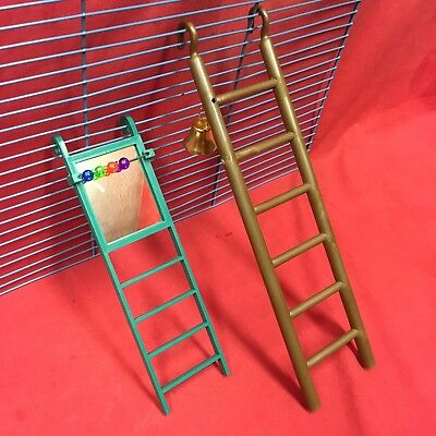 2 X Plastic Toy Ladder & Bell 11  & 8  Ladder & Mirror Beads Hamster Mice Gerbil • 7.99£