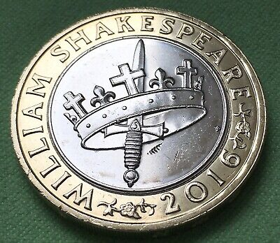 2016 William Shakespeare History £2 Two Pound Coin. (Circulated). • 3£