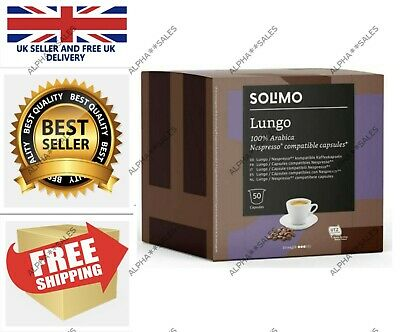 100X Solimo Nespresso Compatible Lungo Capsules Roast Coffee UTZ Certified 2X50 • 13.99£