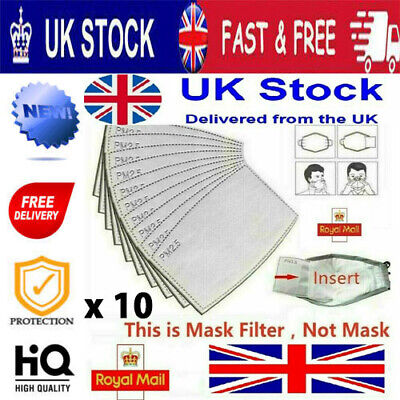 £2.75 • Buy PM2.5 Activated Carbon Filter Insert Replacement For Cotton Face Mask X 10