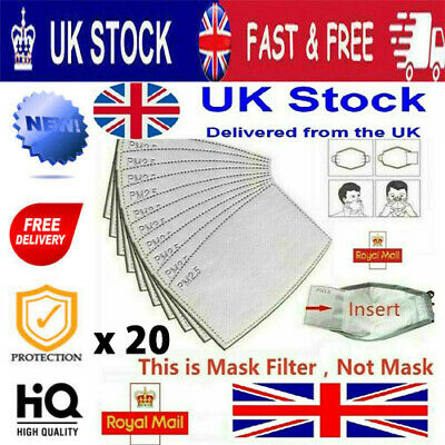 £3.99 • Buy PM2.5 Activated Carbon Filter Insert Replacement For Cotton Face Mask X 20