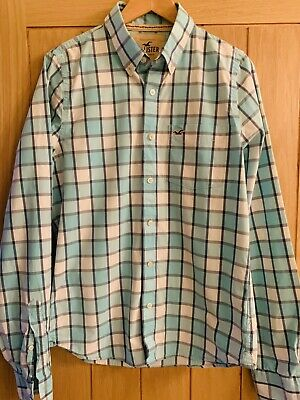 Mens Hollister Classic Fit Blue & White Striped Long Checked Shirt, Size XL • 2.99£