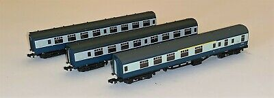 3 X Graham Farish N Gauge BR Mk1 Carriages In BR Blue & Grey • 53£