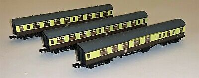Rake Of 3 Graham Farish N Gauge Mk1 Corridor Carriages In BR Chocolate & Cream • 32.98£
