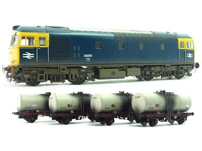 Heljan Class 33 010 BR Blue Locomotive With 4 1980's Grey Tankers Weathered 1095 • 215£