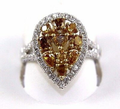 Natural Canary Yellow Diamond Mix Cut Pear Cluster Ring 14k White Gold 1.94Ct • 1,563.06£
