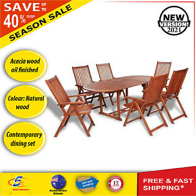 AU881.75 • Buy 7 Pc Wooden Outdoor Dining Set Timber Folding Furniture Setting Table & Chairs