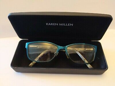 Women's Karen Millen Designer Glasses Frames And Case KM46 Teal Blue 53 15 135 • 21.95£