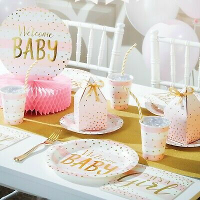 Welcome Baby Girl, Baby Shower, Pink, Gold, Party, Christening, Tableware, Games • 5.49£