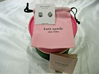 $ CDN52.85 • Buy Kate Spade New York Silver Tone Pave Princess Cut Cz Stud Earrings Nib